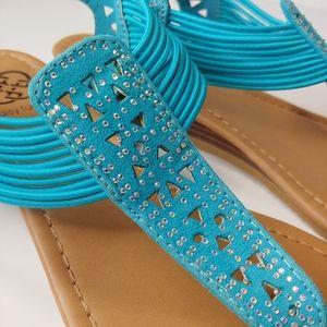 Daisy Fuentes Blue Sandals with Rhinestones